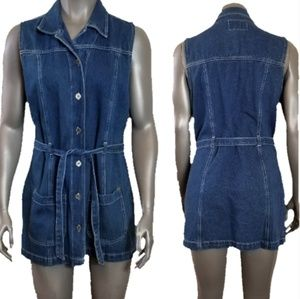 Rt 66 Denim Button Belted Waist Mini Dress / Tunic
